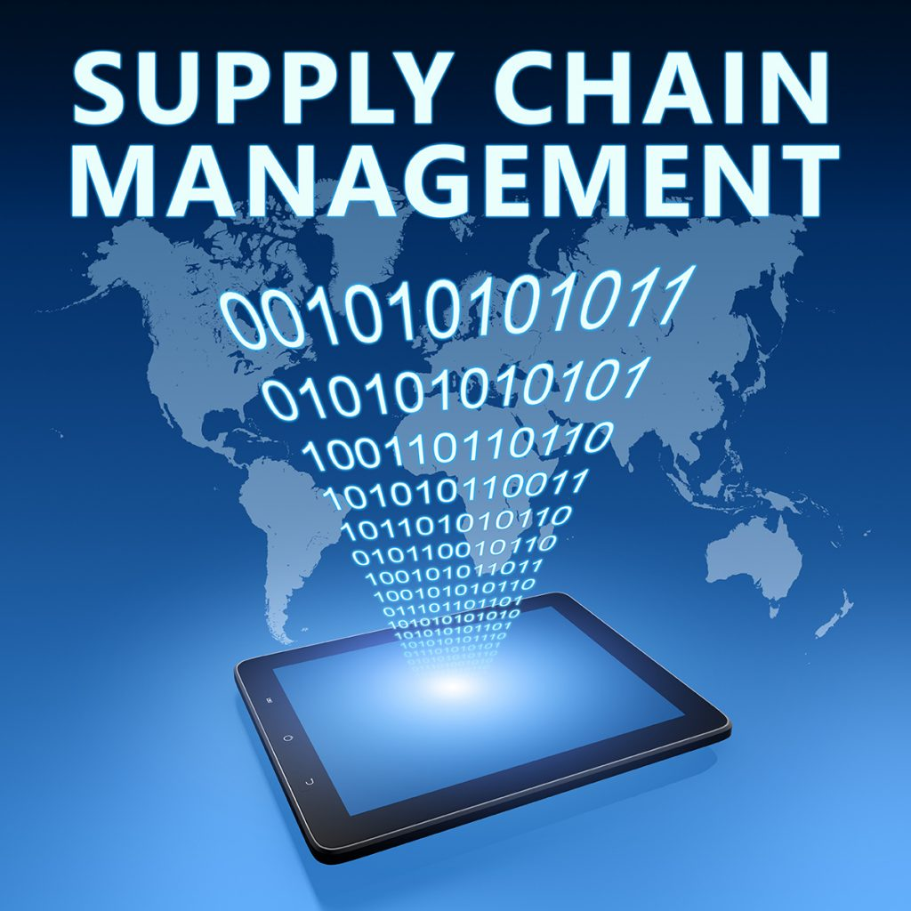 Supply Chain Management illustration with tablet computer on blue background