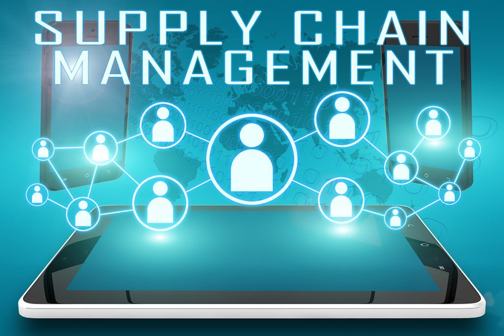 Supply Chain Management - text illustration with social icons and tablet computer and mobile cellphones on cyan digital world map background