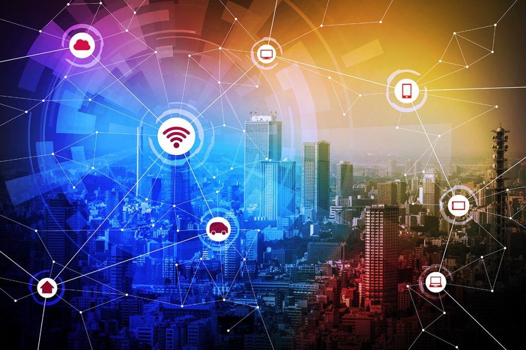 Modern city and wired network concept icons, IoT(internet of thi